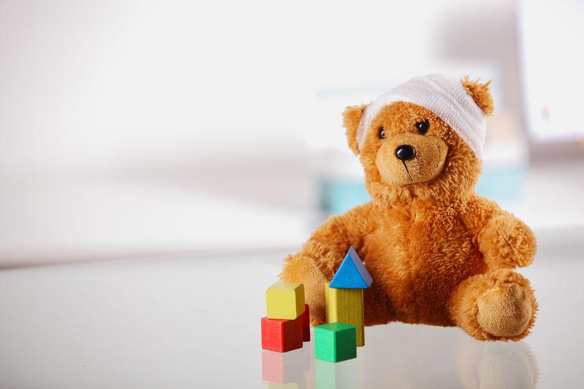 Urso de peluche doente